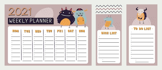 Monster weekly planner