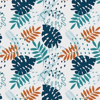 Monstera and palm leaves abstrata sem costura padrão