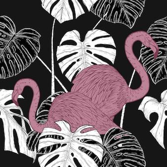 Monstera com padrão de flamingo à mão de desenho