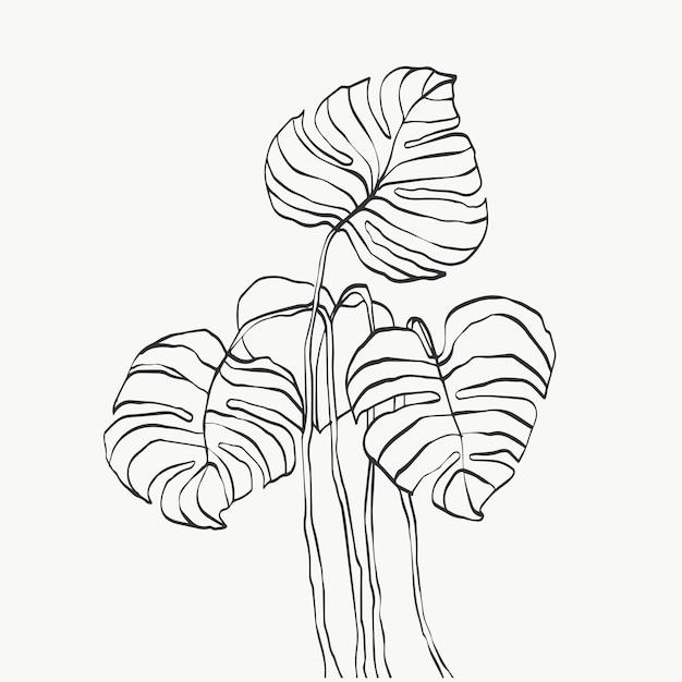 Monstera deixa linha de arte abstrata moderna ou minimalista de plantas, perfeita para decoração de casa, como