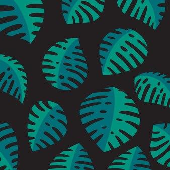 Monstera deixa o padrão em fundo escuro