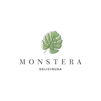 Monstera deliciosa deliciousa leaf logo