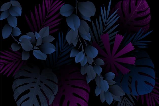Monstera e folhas fundo tropical escuro realista