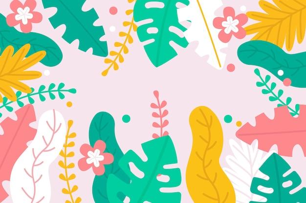Monstera e fundo de folhas de palmeira