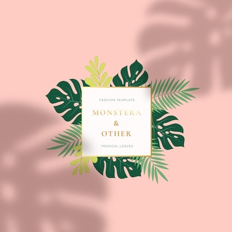 Monstera tropical leaves summer sign or logo
