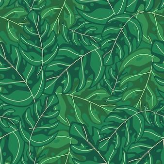Monstera tropical simples deixa padrão de repetição sem emenda. planta exótica. projeto de verão para tecido, impressão têxtil, papel de embrulho, têxteis infantis. ilustração vetorial
