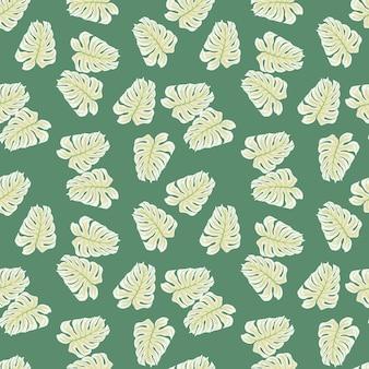 Monstera verde claro deixa formas padrão de doodle sem emenda. impressão de botânica. cenário decorativo para desenho de tecido, impressão têxtil, embalagem, capa. ilustração vetorial.