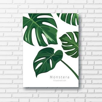 Monstera verde deixa coleções quadro branco no fundo da parede de blocos