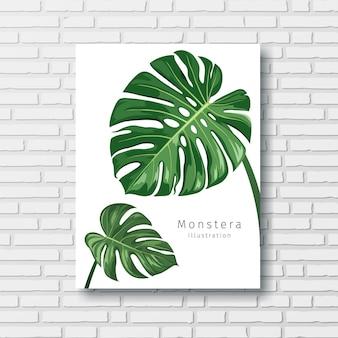 Monstera verde deixa quadro branco no fundo da parede de blocos ilustração eps 10