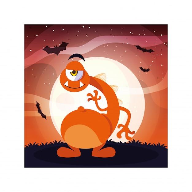 Monstro alienígena na noite de halloween, monstro engraçado