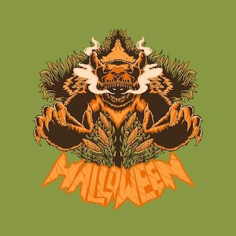 Monstro assassino urso halloween no campo de milho