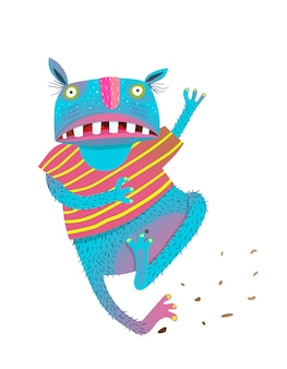 Monstro assustado correndo engraçado colorido