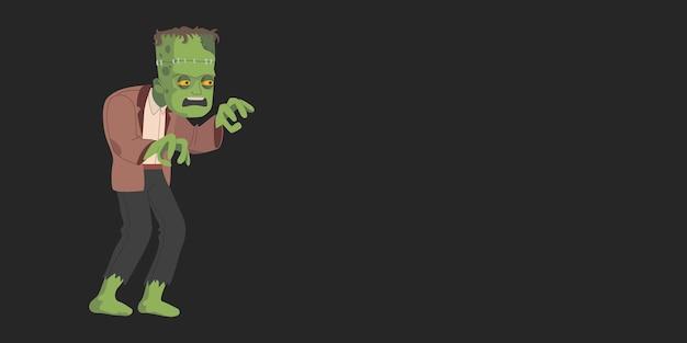Monstro assustador verde - frankenstein. feliz dia das bruxas. banner com lugar para vetor de texto