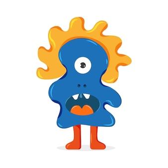 Monstro azul com cabelo laranja ilustração em vetor bonito personagem de desenho animado para crianças