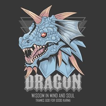 Monstro azul do vetor da cabeça do dragão