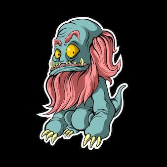 Monstro barbudo engraçado