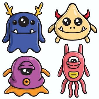 Monstro bonito character design set vector