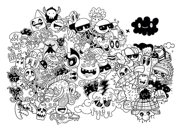 Monstro bonito do doodle