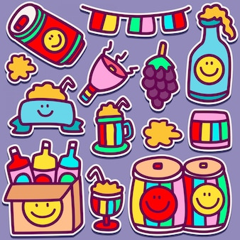 Monstro bonito doodle design de etiqueta