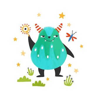 Monstro bonito e amigável, alienígena ou besta. criatura adorável de conto de fadas com chifres