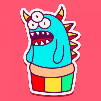 Monstro bonito personagem doodle design
