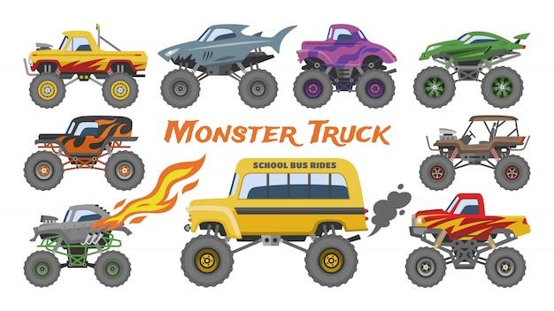 Monstro caminhão vector cartoon veículo ou carro e extremo mostram ilustração de transporte