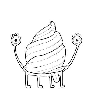 Monstro caracol fofo engraçado com uma criatura imaginária de concha e língua para crianças colorir livro