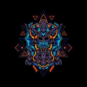 Monstro ciborgue com ornamentos geométricos