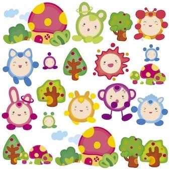 Monstro coloridos engraçados pequenos