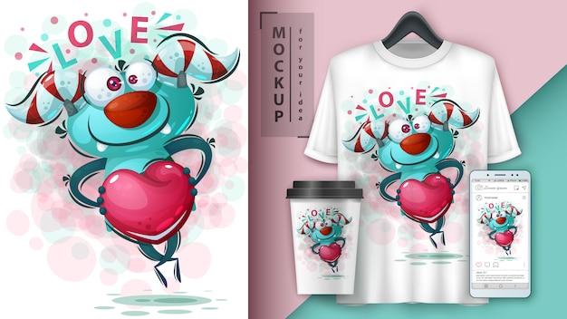 Monstro com ilustração de coração e merchandising