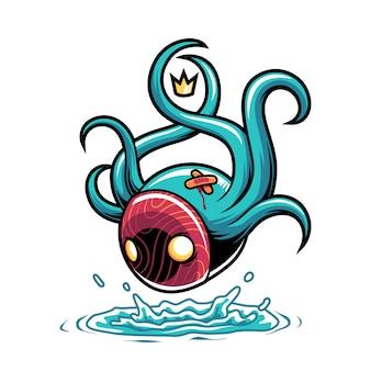 Monstro com tentáculos pulando na água