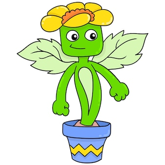 Monstro da planta da flor no pote, arte de ilustração vetorial. imagem de ícone do doodle kawaii.