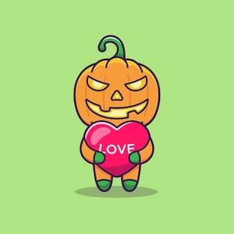 Monstro de abóbora fofo abraçando um balão do amor