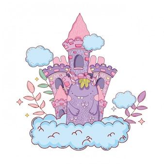 Monstro de conto de fadas com caráter de castelo