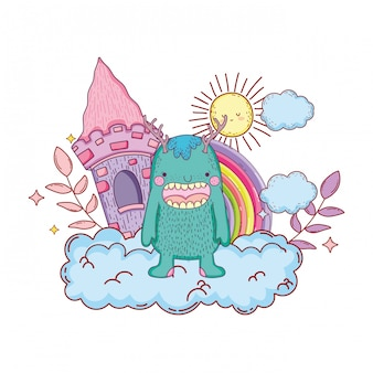 Monstro de conto de fadas com castelo e arco-íris