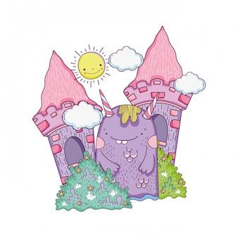 Monstro de conto de fadas no castelo