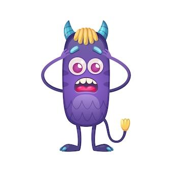 Monstro de desenho animado assustado com ilustração de chifres