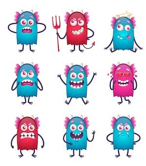 Monstro de desenho animado com nove personagens de animais engraçados isolados de diferentes cores e emoções faciais