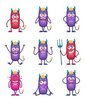 Monstro de desenho animado isolado com nove personagens engraçados de monstros sorridentes de cor violeta e vermelha