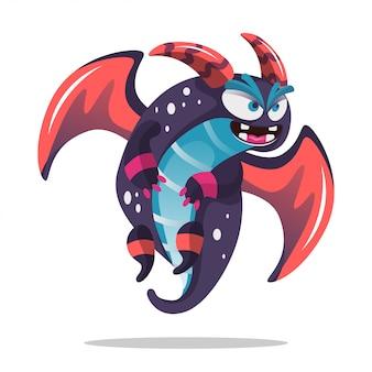 Monstro de dragão bonito dos desenhos animados para decoração de festa