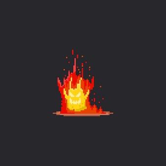 Monstro de fogo de pixel