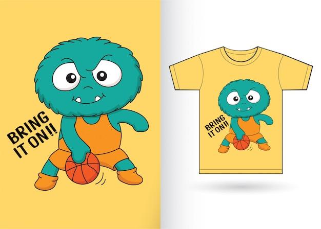 Monstro de jogador de basquete para camiseta