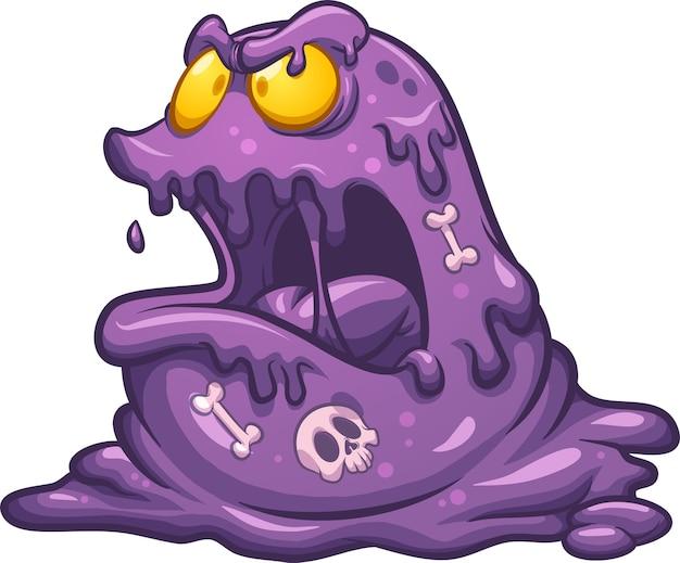 Monstro de limo de desenho animado roxo maligno com ossos digeridos dentro