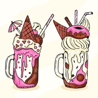 Monstro de mão desenhada design shakes