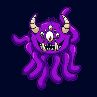 Monstro de tentáculos engraçado dos desenhos animados