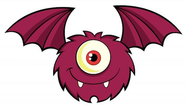 Monstro de um olho bonito cartoon personagem voar