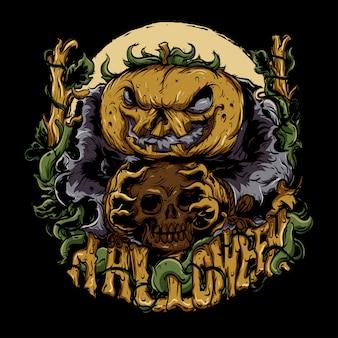 Monstro do dia das bruxas com uma abóbora