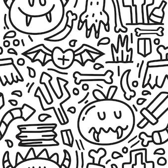 Monstro dos desenhos animados doodle modelo de design padrão