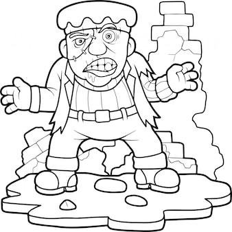 Monstro dos desenhos animados frankenstein
