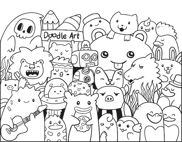 Monstro e animais da arte do doodle chibi